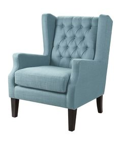 Blue Wing Chair $289.99 Weight capacity: 250 lbs. 30.38'' W x 39.75'' H x 30.5'' D Seat: 19.7'' H Upholstery: 100% polyester Assembly required