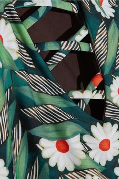 Mara Hoffman - Cutout Printed Swimsuit - Army green - x small