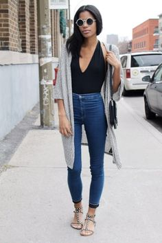 casual outfit black top   cape   jeans