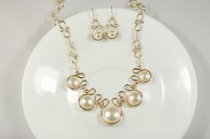 Gold Pearl Statement Necklace Wire Wrapped Jewelry Handmade