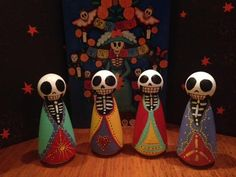Day of the Dead Peg Dolls - Handpainted by C. Laughter