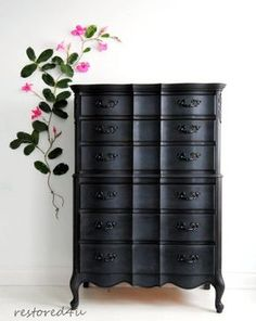 vintage furniture Graphite Black Painted French Provincial by Painted Bedroom Furniture, Rustic Furniture, Refurbished Furniture, Black Painted Furniture, Cool Furniture, Black Chalk Paint Furniture, Black Bedroom Furniture, Home Decor, Vintage Furniture