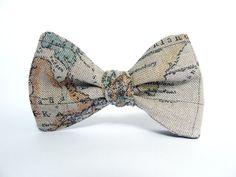 Bow Tie for Men by BartekDesign self tie beige map by BartekDesign, €25.00