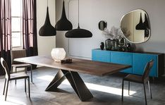 The Cattelan Italia Premier Wood Table from Lime Modern Living. Find a range of contemporary furniture from top brands including Bontempi Casa and Calligaris Dining Table Legs, Oak Table, Extendable Dining Table, Dining Room, Contemporary Wall Mirrors, Contemporary Furniture, Design Tisch, Italia Design, Walnut Wood