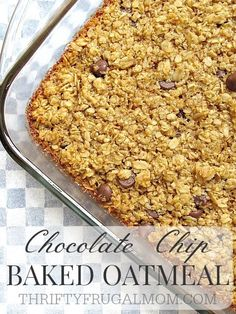 Chocolate Chip Baked Oatmeal- Yum! And the best part? It mixes up in 5 minutes! Make a big batch and freeze it for a bunch of quick breakfasts.