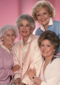 The Golden Girls, pretty in pastel. L-R: Estelle Getty, Beatrice Arthur, Betty White, Rue McClanahan in 1985