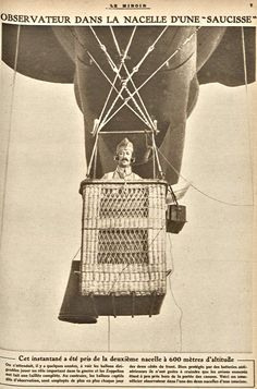 WWI, 31 March 1918, Observation balloon. -Le Miroir