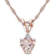 Present the special someone in your life with jewelry that represents your emotions - like the Diamond and Morganite Heart Pendant Necklace. Set in 10K rose gold, a heart-shaped morganite is topped with a round-cut diamond for beautiful sparkle.