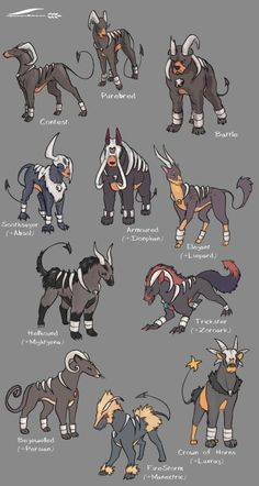 """wheatart: """"I LOVE the Pokemon subspecies/variations meme that has been going around, and I had to try it on one of my favourites, Houndoom! I think the Hellhound variation is probably my favourite. """""""