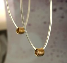 "Elongated Hoop Earrings - Square  Sterling Silver and 14kt Gold Filled Accents by unkamengifts - These will be your ""go to"" earrings!"