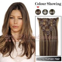 20 Inches 7pcs Clip-in Human Hair Extensions Straight (#P4/27)