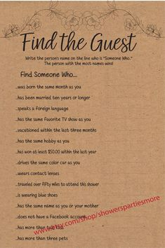 This Find the Guest Bridal Shower Game is a bit silly, but loads of fun.  Some of the questions will not be able to be answered while others will be easy.  The point of the game is to get your guests talking and mingling.  Fun ice breaker game for your Bridal Shower Couple Shower Games, Bridal Shower Games, Ice Breaker Games, Paper Games, Matching Gifts, Ice Breakers, Kraft Paper, Favorite Tv Shows, Workplace