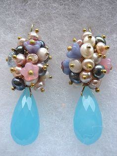 Cailyn Earrings Wire Wrapped Dangle Glam Glamorous by aldesigns, $22.00
