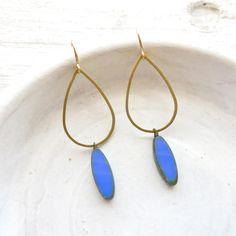 Statement Earrings / Blue Earrings / Modern Earrings / Beaded Earrings / Gold Earrings / Hoop Earrings / Boho Jewelry / Dangle Earrings