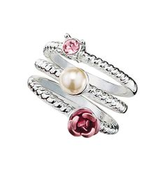 3-piece stackable set. Silvertone rings with faux pearl, enamel-like flower and rhinestone. to order go to http://angelayoung.avonrepresentative.com/    GOOD TO KNOW   All of Avon's jewelry is nickel-free for those with sensitive skin & allergies to nickel.