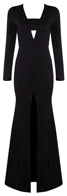 'Ava' Long Sleeve Maxi Gown-Black