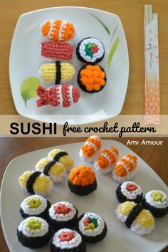 Free Sushi Crochet Pattern.  Includes Nigiris such as Salmon, Shrimp, Roe, Tuna, and Tamago, and the ever classic California roll #sushicrochet #freecrochetpattern #freeamigurumipattern