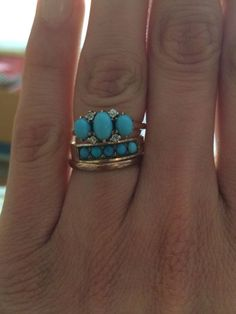 Antique Vintage Turquoise Wedding Engagement Ring Set With Rose Cut Diamonds