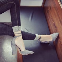 Pointed Back Strap High Square Heels Shoes by Zeelous Street Style