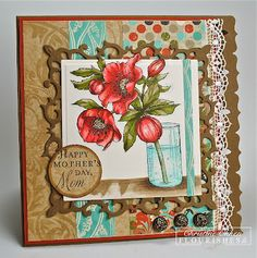 I paired the beautiful Lenten Rose set with the Motherly Love Sentiment Set that can make any image into a Mother's Day card.  I used the new pack of Bo Bunny Serenity Collection DP for my color palette.  This card is 5 1/2 x 5 1/2 inches.     image with a Spellbinders Fleur De Lis Squares die.