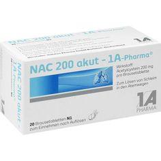NAC 200 akut 1A Pharma Brausetabletten:   Packungsinhalt: 20 St Brausetabletten PZN: 00562726 Hersteller: 1 A Pharma GmbH Preis: 1,93 EUR…