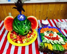 Circus Elephant Watermelon Carving and Clown Face Vegetable Platter - June 2015