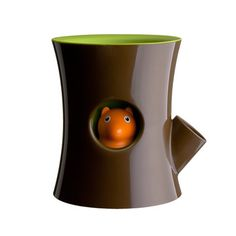 Squirrel Flower Pot Brown Green when the water level runs low the squirrel slips down his hole.