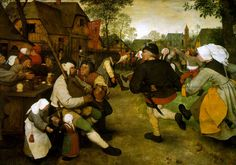 The Peasant Dance by Pieter Bruegel 1568 (oil on oak panel) The Peasant Dance is currently held and exhibited at the Kunsthistorisches Museum in Vienna. Bruegel intended for the painting to have a moral side to it and not just to portray a peasants life. The painting holds meaning referring to anger and vanity in many of the painted people. The portrayal of a virgin in a tree portrays the religious side, while a tavern portrays the more secular side of these times. (Northern Renaissance)