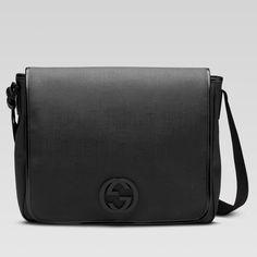 Large messenger bag with interlocking G detail Gucci..Mens