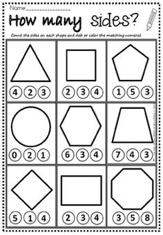 shapes how many sides maternelle shapes how many sides Shapes Worksheet Kindergarten, Shapes Worksheets, Kindergarten Math Worksheets, Preschool Learning Activities, Homeschool Kindergarten, Shape Worksheets For Preschool, Preschool Math, Shapes Worksheet Preschool, Preschool Worksheets Free