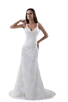 VogueZone009 Womens Spaghetti Straps Pongee Solid Wedding Dress
