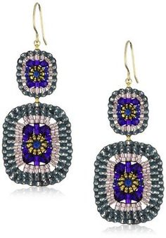 Miguel Ases Blue Quartz and Swarovski Square Drop Earrings on shopstyle.com