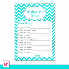INSTANT DOWNLOAD Printable Chevron Wishes for Baby Card - Baby Shower Boy Girl Turquoise Aqua Blue Cute Adorable Activities Games