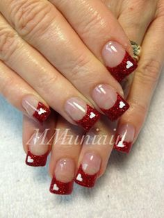 96 Awesome Red Nail Art Ideas, Nail Design Red Nails Coffin Acrylic Designs Art Ideas, Amazing Red Nail Art Designs & Ideas for Girls 2013 90 Red Nail Art Designs 2019 Best Manicure Ideas Nailsstock, Look at these Red Nail Art Ideas. French Nails, Valentine Nail Art, Valentine Nail Designs, Nagel Hacks, Heart Nails, Super Nails, Nagel Gel, Nail Art Hacks, Cute Nail Designs