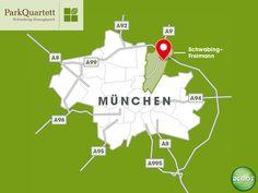 Stadtplan - ParkQuartett  #ParkQuartett #Architektur #Neubau #Neubauprojekt #Eigentumswohnungen #Wohnen #Schwabing #München #Stadtkarte