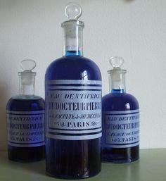 vintage FRENCH GLASS BOTTLES de medecine de by vintagefrenchstyle, $58.00