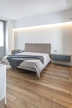 BRANDO concept  | Camera da letto minimal design stile contemporaneo comodini sospesi letto matrimoniale strip led