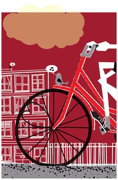 Going to See My Baby Ruby by Strawberry Luna Bike Print $30 #poster
