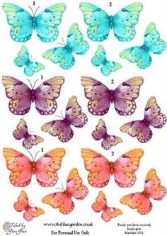 Butterfly by freda Paper Butterflies, Butterfly Cards, Beautiful Butterflies, Paper Art, Paper Crafts, Butterfly Pictures, 3d Prints, Decoupage Paper, Print And Cut