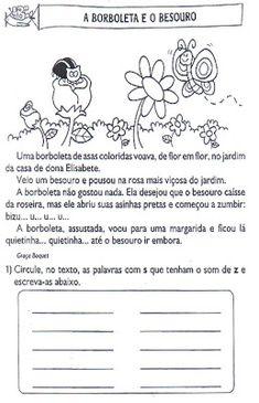 """""""EDUCAR PARA A VIDA"""": ATIVIDADE COM S som de z e leitura."""