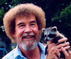 Bob Ross holding a baby raccoon. follow @GalaxyCase to see more cutest animals kids .... and learn way to make #uniqe #personalized #Samsung #Galaxy S4/S5/S6 Note 4/5 Case Cover