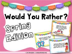 Would You Rather?? Spring Edition. Journal writing prompts for the elementary classroom ~ perfect for Spring and Easter WRITING FUN! TeacherKarma.com