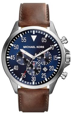 Michael Kors Gage Leather Watch NWT Classic mens watch with a brown leather strap stainless case and navy dial. Style number is NWT Michael Kors Accessories Watches Outlet Michael Kors, Michael Kors Men, Handbags Michael Kors, Mk Handbags, Brown Leather Strap Watch, Tan Leather, Smooth Leather, Best Watches For Men, Cool Watches