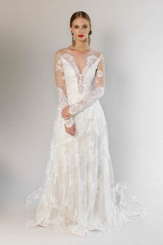 Lace-sleeved Claire Pettibone wedding dress from 2016 Spring Bridal Market