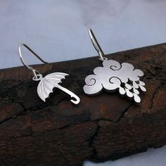 The Official Hairy Growler Jewellery Co. Cambridge - handcrafted and recycled spoon Cloud and Umbrella earrings