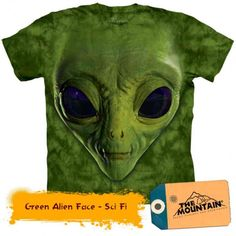 Tricouri The Mountain – Tricou Green Alien Face Big Face, Aliens, Sci Fi, Mountain, 3d, Green, Fictional Characters, Animals, Animales
