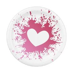 Pink Heart Love Paper Plates