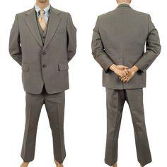 3 pc Pinstripe Suit Curlee 2 Button Mens Sz 42R Blazer Vest Pants 39X30 Gray #Curlee #TwoButton #MensSuit #SomeLikeItUsed