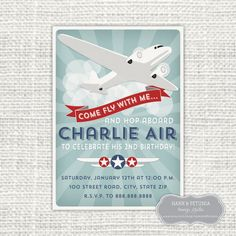Printable Retro Inspired Airplane Birthday by HankandPetunia, $12.00