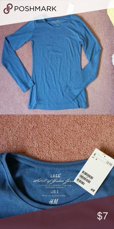 H&M Long sleeve shirt Blue Small NWT Pretty blue and very soft cotton!  Never worn and new with tags. H&M Tops Tees - Long Sleeve